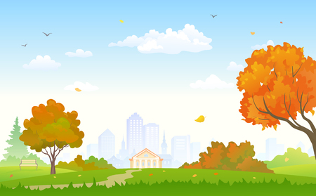Vector illustration of a beautiful autumn city park background