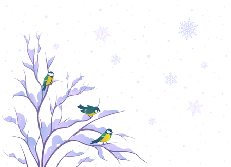 covered in snow: Vector illustration of a winter background with small birds on a bush Illustration