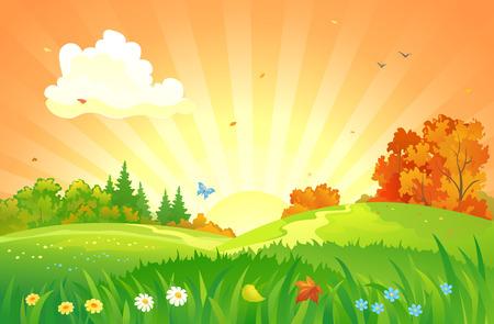 Sunset landscape vector: Vector hình minh họa của một phong cảnh hoàng hôn mùa thu đẹp Hình minh hoạ