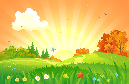 beautiful landscape: Vector illustration of a beautiful autumn sunset landscape Illustration