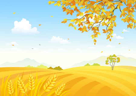 Vector illustration of a beautiful farm background with golden wheat fields Vettoriali