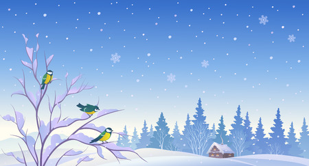 forest landscape: illustration of a winter morning background with titmouses birds on a bush
