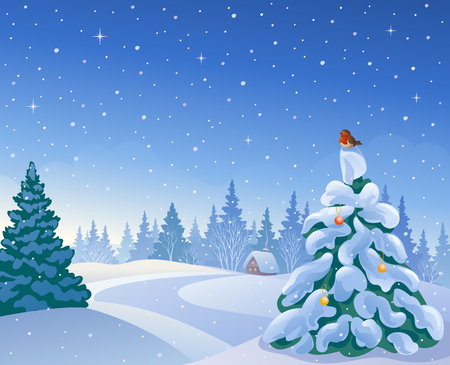 snow landscape: illustration of a beautiful Christmas morning forest with a small fir tree and a bird