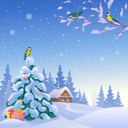 illustration of a winter snowy landscape with birds and Christmas tree