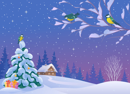 illustration of a beautiful winter landscape with birds, house and small Christmas tree