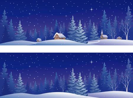 illustratie van een mooie besneeuwde winter bos, panoramisch banners Stock Illustratie