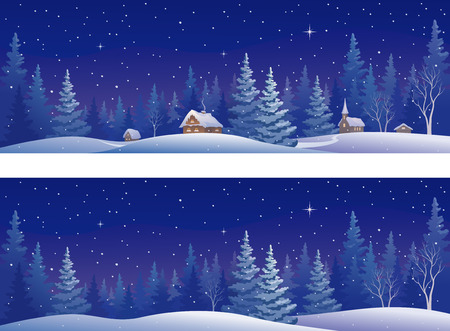 illustration of a beautiful snowy winter forest, panoramic banners Vettoriali