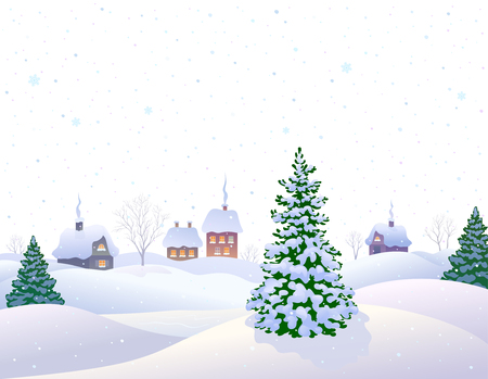 illustration of a beautiful white winter landscape with a snow covered village