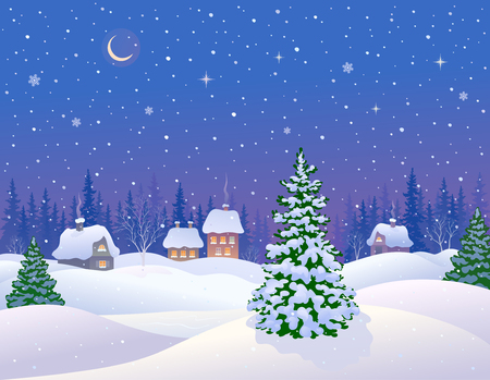 snow scape: illustration of a beautiful winter night village with a snow covered fir trees