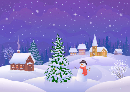 illustration of a snowman decorating a Christmas tree in a small snowy village Illustration