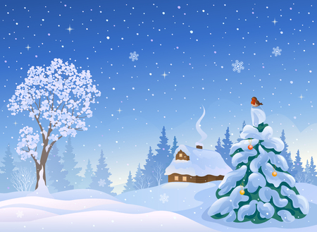 illustration of a beautiful winter morning landscape with a snow covered house and trees Illustration