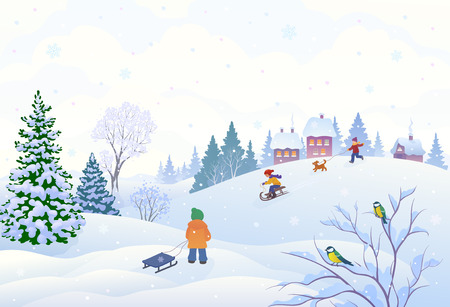 illustration of a winter scene in a small snowy village with playing kids