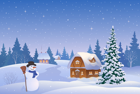 illustration of a beautiful winter village with a snowman and snowy houses