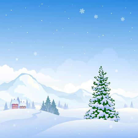 Illustration eines schönen Winter Natur Hintergrund mit schneebedeckten Bergen und Tannen Vektorgrafik