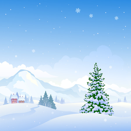 snow scape: illustration of a beautiful winter nature background with snowy mountains and fir trees