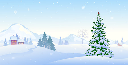 illustration of beautiful winter morning mountains, horizontal background 일러스트