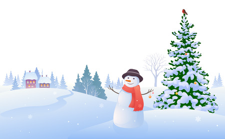 snowscape: illustration of a winter landscape with a snowman, isolated on a white background