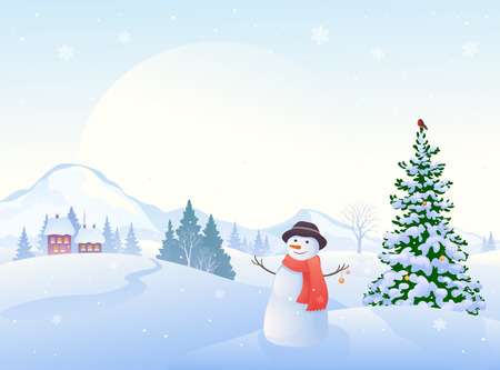 cartoon illustration of a beautiful winter morning landscape and a greeting snowman Illustration