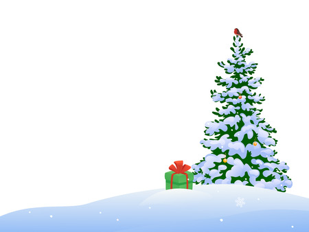 tree isolated: illustration of a beautiful Christmas tree with a bullfinch and a gift, isolated on a white background Illustration