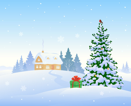 covered in snow: illustration of a beautiful winter morning with a snow covered house and a Christmas tree Illustration