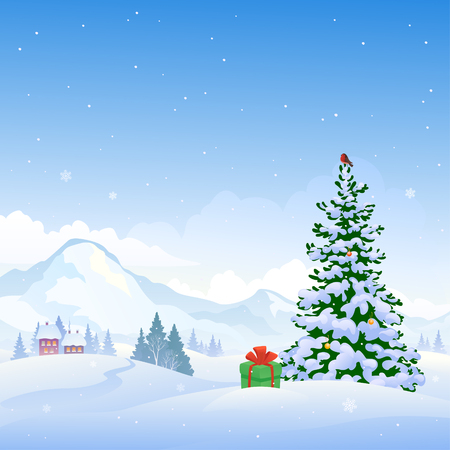 winterly: illustration of a beautiful Christmas nature background with snowy mountains and a Christmas tree Illustration