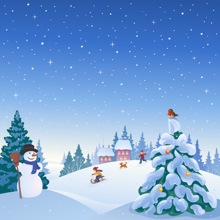 rolling landscape: illustration of a winter snowy village with a snowman, playing kids and snow covered Christmas tree Illustration
