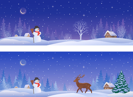 snow scape: illustration of a beautiful winter night village with a snowman and a deer, panoramic banners