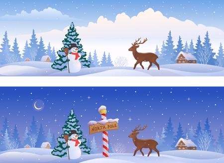 노스 폴 기호, 눈사람 사슴, 파노라마 배너 크리스마스 풍경의 그림 일러스트