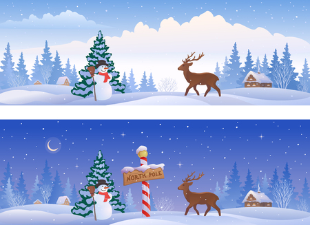 illustration of Christmas landscapes with a North Pole sign, a snowman and a deer, panoramic banners Illustration