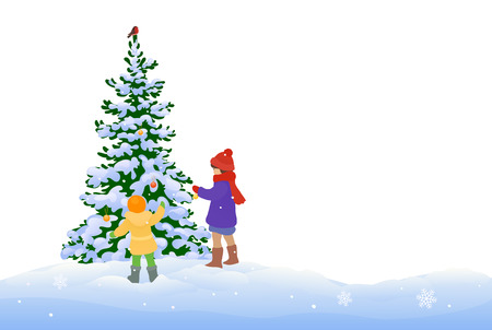 illustration of a winter scene with kids decorating a Christmas tree, isolated on a white background Illustration