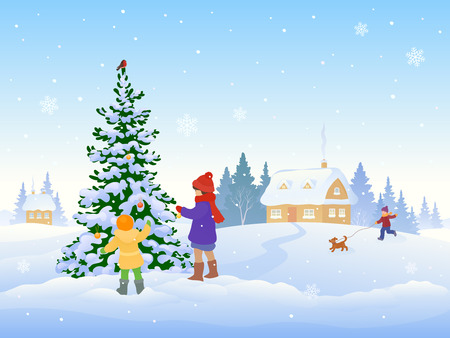 snow scape: illustration of a winter snowy scene with children decorating a Christmas tree outdoor