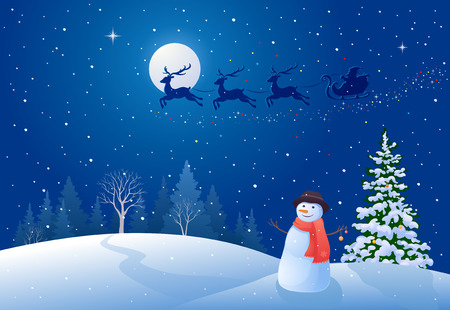 scenics: illustration of a Christmas night with Santa Claus sleigh driving over snowy woods, and greeting snowman