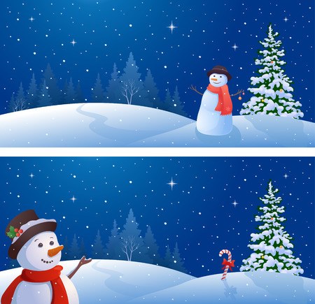 illustration of a Christmas night landscape with greeting snowmen, horizontal banners Illustration