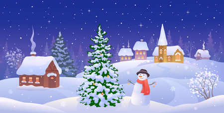 snow scape: illustration of a Christmas night landscape with a snow covered small town and a snowman