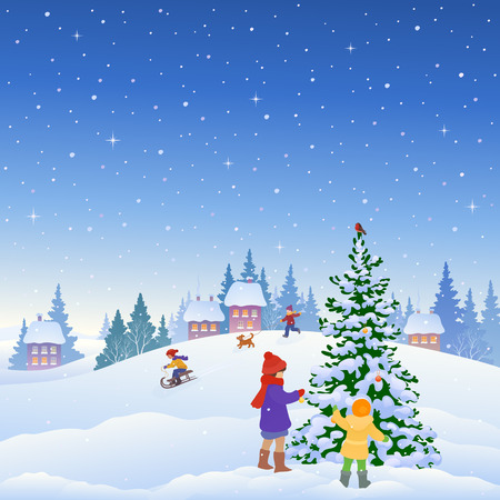 town square: illustration of kids decorating a Christmas tree and other winter fun outdoors in a small snowy town, square background