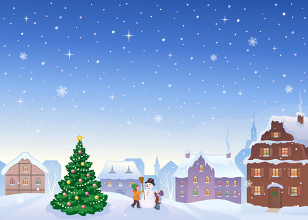european: illustration of a snowy small town with kids making a snowman Illustration