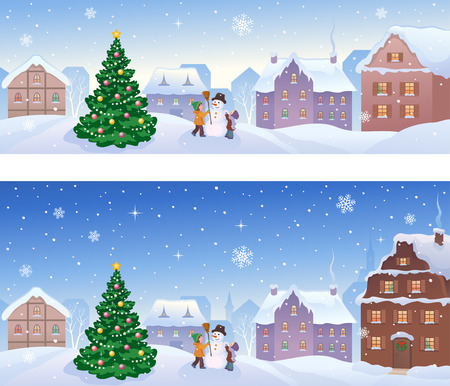 illustration of a snowy small town with kids making a snowman, panoramic banners Illustration