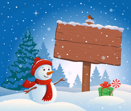 illustration of a cute snowman and a snowy wooden sign with empty copy space