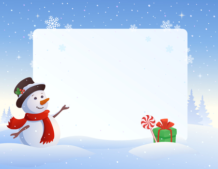 snowdrift: illustration of a snowman with a blank frame background