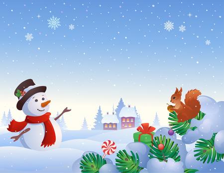 marcos decorados: ilustración de una escena de invierno con un muñeco de nieve y una ardilla en la nieve cubrió ramas de árboles de abeto