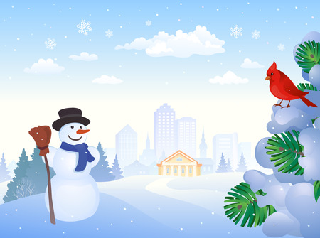 snow cardinal: illustration of a winter city park with a snowman, cardinal bird and snow covered fir tree branches Illustration