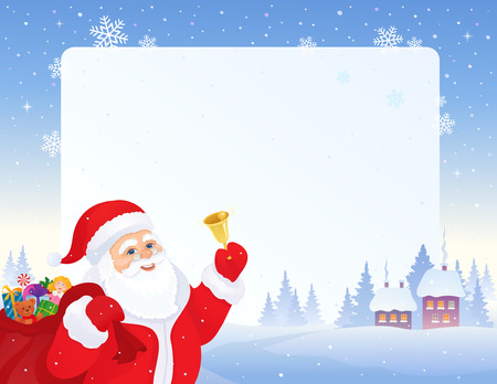 illustration of Santa Claus ringing the bell, with a snowy landscape and white frame on the background Illustration