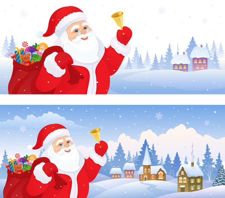 illustration of Santa Claus ringing the bell, with a village landscape on the background, panoramic banners