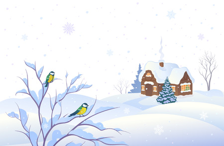 illustration of a snowing winter landscape with a house and small birds on a bush, isolated on a white background