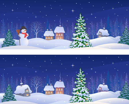 cartoon drawing of a winter night village with a snow covered Christmas tree and a snowman, panoramic banners