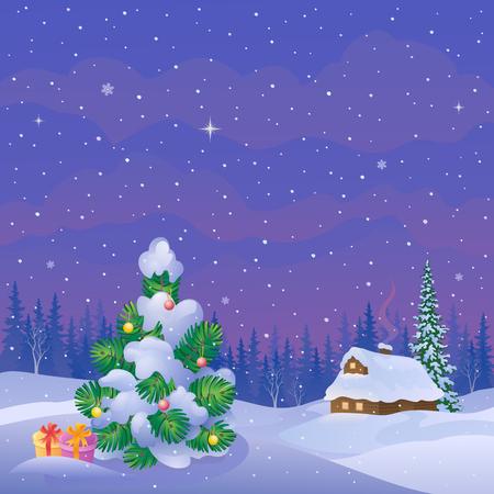 neige qui tombe: illustration d'un beau paysage du soir d'hiver avec une maison couverte de neige et arbre de Noël décoré