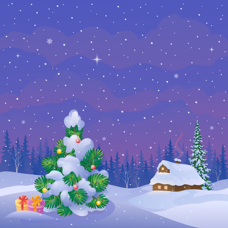 illustration of a beautiful winter evening landscape with a snow covered house and decorated Christmas tree