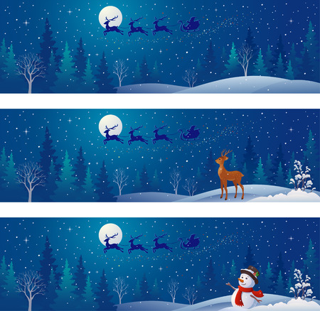 drawing of Christmas night scenes with Santa Claus sleigh silhouette above snowy forests, greeting snowman and deer, panoramic banners collection