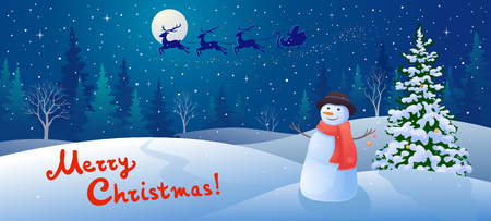 illustration of a winter snow scene with Santa Claus sleigh silhouette, greeting snowman and handwritten Merry Christmas text