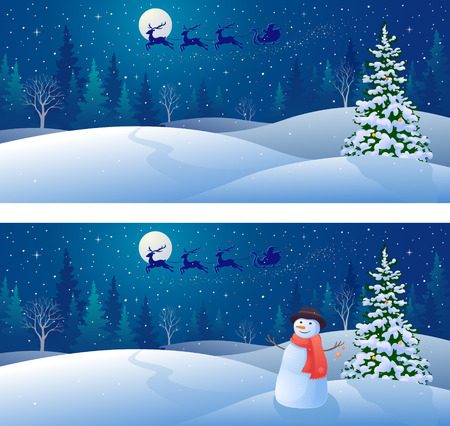 snowdrift: drawing of a winter snow scene with Santa Claus sleigh silhouette flying over woods and greeting snowman, panoramic backgrounds Illustration